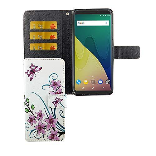 König Design Handyhülle Kompatibel mit Wiko View XL Handytasche Schutzhülle Tasche Flip Hülle mit Kreditkartenfächern - Lotusblume Pink Weiß
