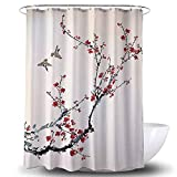Heavy Duty Waterproof Fabric Bathroom Shower Curtain Bath Curtain Weighted 100 Percent Polyester, Machine Washable, 72 x 72 Inches with Oriental Painting Design