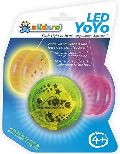 Alldoro Farbiges Yoyo mit tollem LED-Leuchteffekt, toller Spielspaß für Kinder ab 4 Jahre, sortiert in gelb, blau, grün und lila, mit Batterien