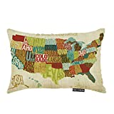 Nicokee Throw Pillow Cover Across The Country United States Map Decorative Pillow Case Home Decor 20x12 Inches Pillowcase