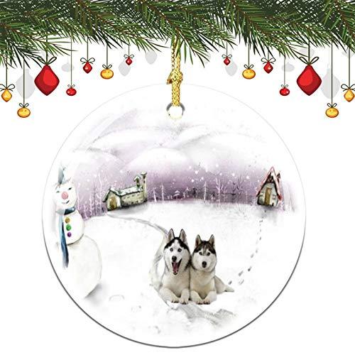 7,6 cm Weihnachtsdekoration, sibirischer Husky, Weihnachtsschmuck, Andenken, Geschenk, Gedenkstätte, Frieden und Glück Weihnachtsdekorationen