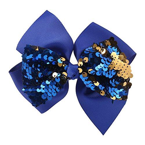 Tinaa Pince à Cheveux Fille Arc de Ruban de Soie Luo Pince à Cheveux Pince Crocodile (bleu)