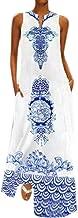 ★ZFK_DRESS Women's Boho Print Deep V-Neck Sleeveless Beach Cover Up Loose Fit Maxi Dress