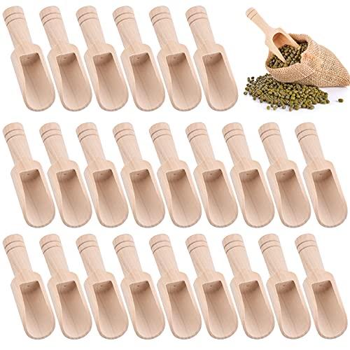 QUACOWW Lot de 24 mini cuillères en bois, mini cuillères à sel de bain, cuillères à bonbons, cuillères à café, cuillères à laver, cuillères à café pour bébé