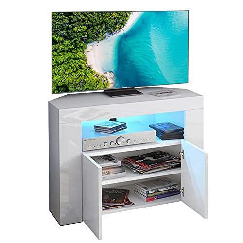Dripex Mobile Porta TV con Luci LED Armadio per Supporto la TV Mobile ad Angolo Bianco Lucido 86x40x65 CM