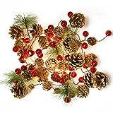 Guirnaldas Luces Exterior Led Con Pilas, Guirnalda Navidad Chimenea Con Luces De Hadas Piñas Bayas Hojas, Navidad Decoración Guirnalda Artificiales Arbol Interior Habitacion Ventana Terraza Puerta (A)