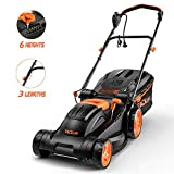 TACKLIFE Lawn Mower, 14 Inch Electric Lawn Mower, 6 Cutting Heights (0.98''-2.95''), Single Lever Adjustable, Tool-Free Installation, Used in Small & Medium Gardens