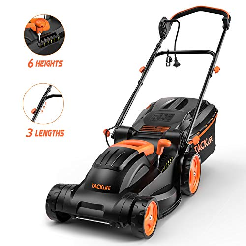 TACKLIFE Lawn Mower, 14-Inch, 10 Amp Electric Lawn Mower, 6 Central Adjustable Heights (0.98