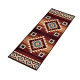 Collections Etc Colorful Southwest Aztec Print, Skid-Resistant Rug, 22' X 60'