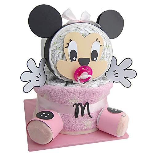 Windeltorte.com – Maus | Windeltorte in Rosa - inkl. 31 LILLYDOO Windeln | Geschenk zur Geburt | Taufgeschenk | Geschenk zur Babyparty – handgefertigt (Mädchen)