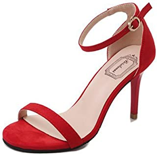 3ddc9591 Sandalias de Verano, Dragon868 Moda Mujeres Sandalias Tobillo Tacones Altos  Bloque Abierto Toe Zapatos de