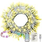 Hezbjiti Luci a batteria, 100 luci a LED attivate da 10 m Fairy, con telecomando, timer, luci a batteria impermeabili sincronizzate con musica per feste, casa, decorazioni natalizie (Bianco Caldo)