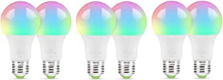 Smart WiFi Multi-Color LED Light Bulb Compatible with Alexa, Echo, Google Home, Color Changing Bulb with App Control (Pack of 6)