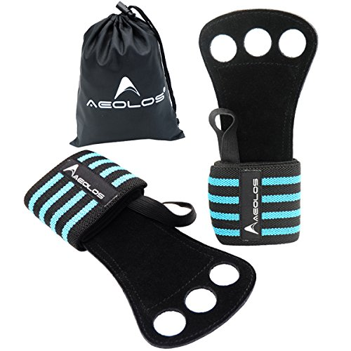 AEOLOS Gymnastics Hand Grips/Gloves with Wrist Wrap Support -Perfect for WODs,Pull up,Power Weight Lifting,Kettlebells and Gym Workout (Blue4)