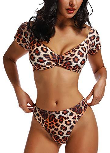 FITTOO Damen Push Up Hohe Taille Bauchweg Gepolsterter Bandeau Bikini-Set Leopard Muster M
