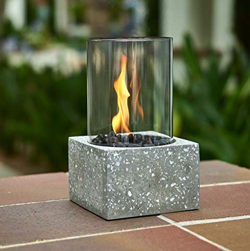 Table Top Fire Bowl, Ventless Outdoor Portable Bio Ethanol Fire Pit, Modern Round Table Fireplace - Fuel Sold Separately (Square Cement Column)