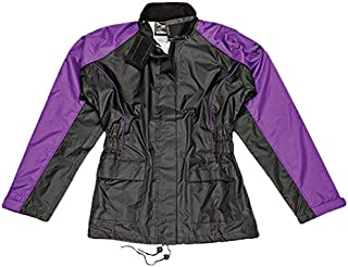 Joe Rocket RS2 Womens 2-Piece Motorcycle Rain Suit (Black/Purple, Large)