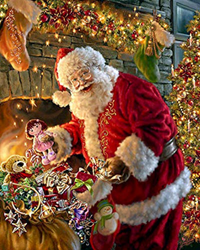 ShuoBeiter 5D Diamond Painting by Number Kits New DIY Full Drill Diamond Painting Kit for Adults Cross Stitch Embroidery Arts Santa Claus, 40x50cm (D)