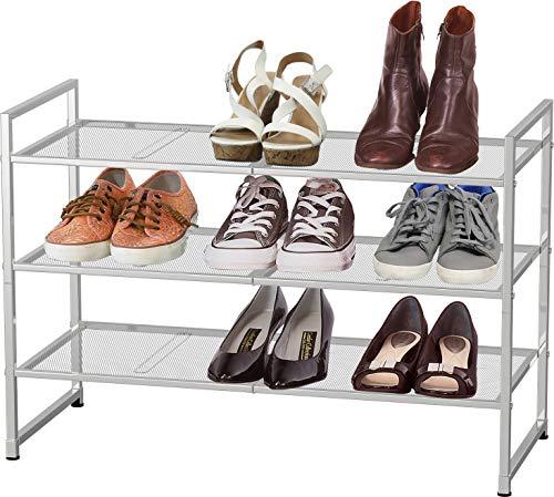 Simple Houseware 3-Tier Stackable Shoe Shelves Storage Utility Rack Silver