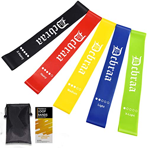 Resistance Loop Exercise Bands 5 Pcs Home Fitness Stretching Strength Training Physical Therapy Natural Latex Workout Bands Pilates,Flexbands Exercise Bands