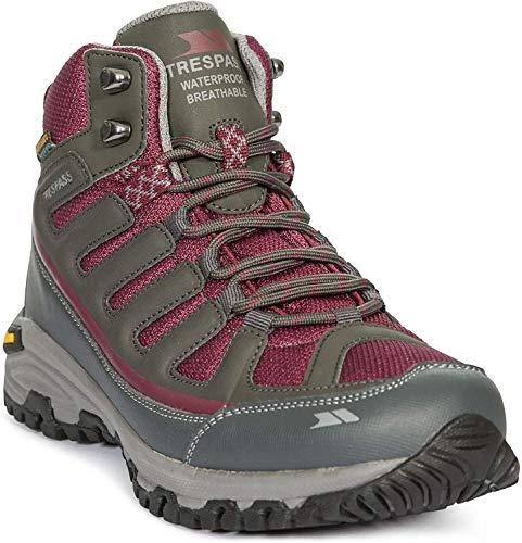 Trespass Tensing, Chaussures de Randonnée Hautes Femme, Gris (Steel/Rouge Sre), 41 EU