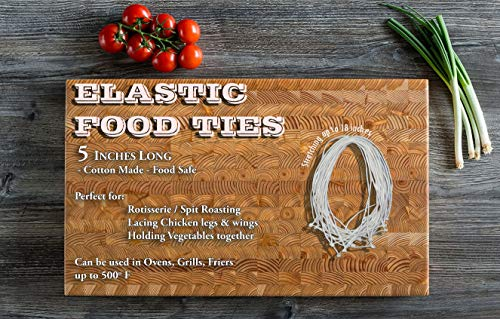 100 Elastic Ties/Loops/Strings Poultry/Twine for Chicken/Rotisserie Ties/Turkey/Meat/Food Cooking Rubber Bands,5 inches long WHITE, (100)