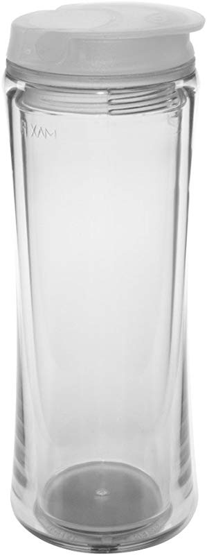 Flip Top Double Wall Acrylic Tumbler With Screw On No Spill Lid And Flip Closure Clear
