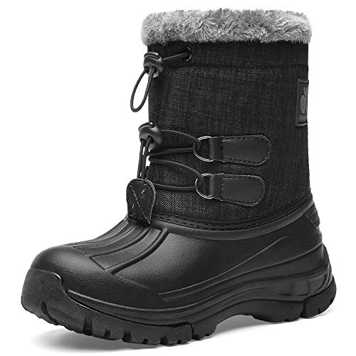 Kids Snow Boots Boys & Girls Winter Boots Waterproof Cold Weather Outdoor Boots  (Toddler/Little Kid/Big Kid) DKTX001-T2-28 Black Grey