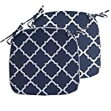 IN4 Care Outdoor Indoor Chair Seat Cushions with Ties Set of 2, Patio Chair Pads 16x17 Inch for Home Office Patio Furniture Garden Decoration (Geometry Navy)