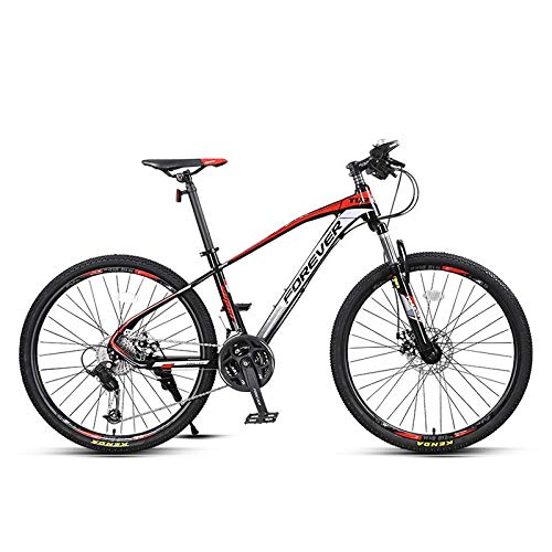 JIASE 27-Speed Mountain Bike, 27.5 Inches Aluminum Alloy Frame, Two Hydraulic Double Disc Brake Suspension Bicycle Spoke-Type, The MTB Tires, Black Red/Black Blue SE530 (Color : Black red)