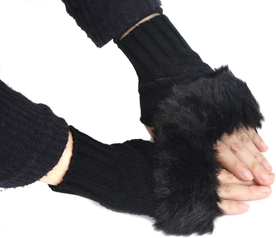 New 1 Pair Women Gloves-Knitted Arm Fingerless Wrist Rabbit Fur Mitten Winter Warmer Knitted Gloves Wrist Trim Gloves s10 s14 - (Color: D)