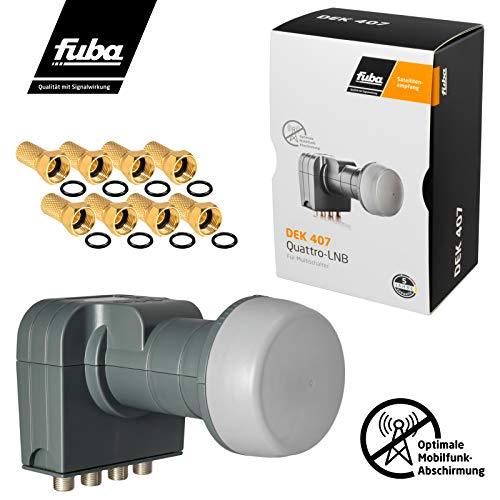 Fuba Quattro LNB LNC für Multischalter-Betrieb DEK 407 ■ LTE- & Mobilfunkabschirmung ■ Wetterschutz (ausziehbar) ■ Full HD 4K UHD ■ 8 Vergoldete F-Stecker von HB-DIGITAL
