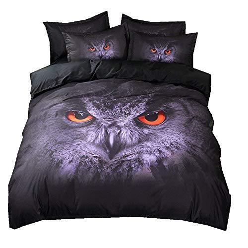 Stillshine Bettwäsche Set 3D Tier Katzen Eule Design Pattern Leichte Mikrofaser Schwarz Bettbezug & Kissenbezug Einzelgröße Doppelte King Size (Eule, Einzelgröße 135x200cm)