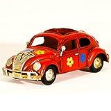 UniqueGift Rot Metall Replica Käfer Bug Auto Deko Figur & Bleistift Fall–Vintage VW Bug mit Blumen–Dose Metall Spielzeug Auto Figur–Retro Büro Ornament