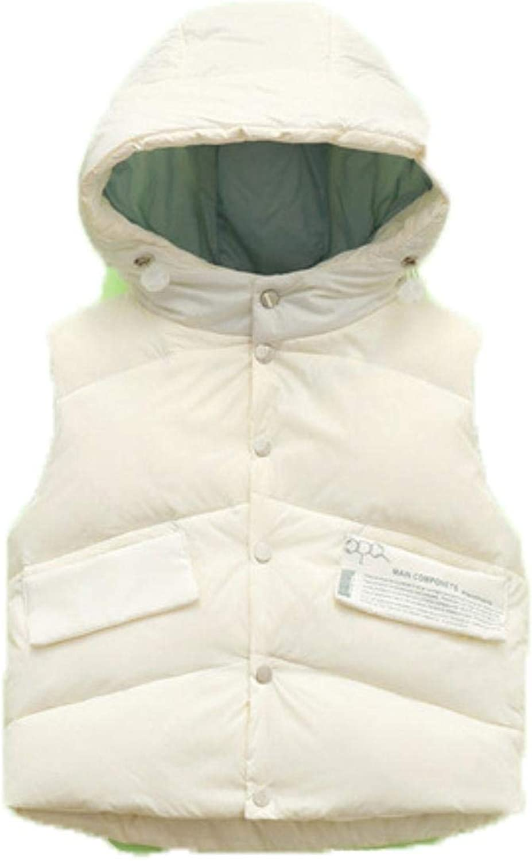 Children Down Vest Autumn Winter Kids Hooded Warm Outerwear Coat ,BEIGE,120