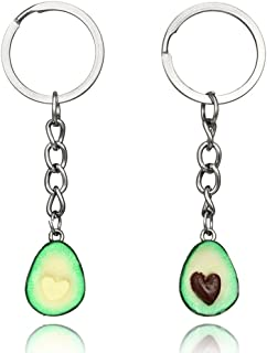 MINGHUA Green Avocado Friendship Keychain Handmade Pendant Oval Heart Love Present Necklace Food