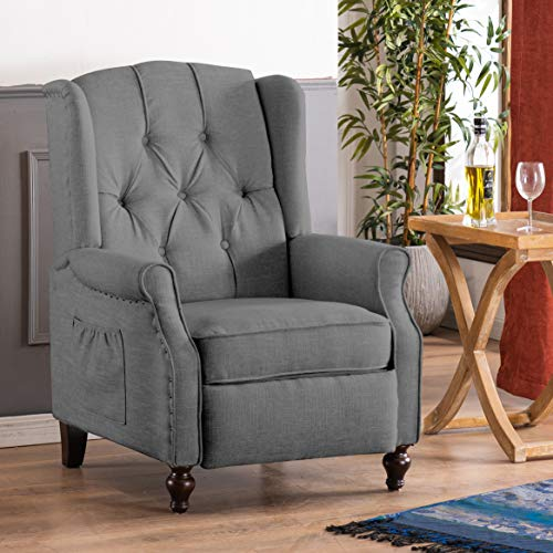 Wingback Recliner Chair with Massage and Heat - 6 Point Massage Recliner Chair with Remote Control, Single Sofa Mid-Century Push Back Accent Chair Tufted Chair for Living Room, Bedroom, Home (Grey)