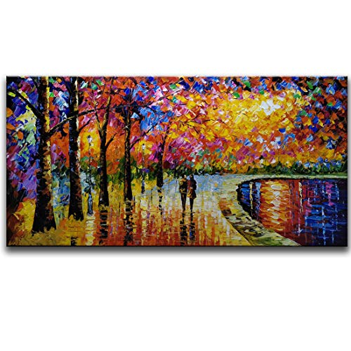 SHUAIDI Wall Arts - 100% Hand Painted Oil Painting Landscape Love in Street Painting for Living Room Kids Room Decor (SD042, 24x48inch)