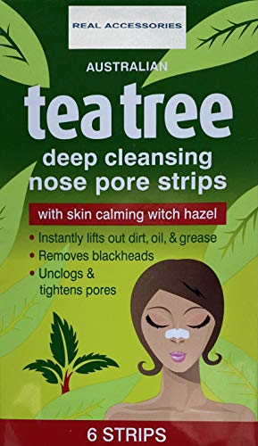 6 x UNISEX Deep Cleansing Tea Tree Nose Pore Strips FOR Blackhead Removal Strips Nose Face Mask Deep Cleansing Pore Treatment Sachets | Clear and Unclogged Pores 6 STRIPS