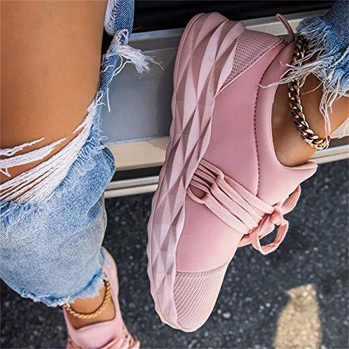 Tenis de verano para mujer, con cordones, para correr, con puntera redonda, transpirables, antideslizantes, color rosa, 43