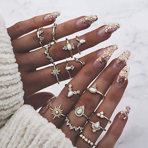 Aukmla Boho Anillos Knuckle Conjunto Oro apilable anillos de dedo Midi Tamaño...