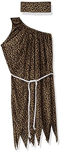 Smiffy's-22452L Hombre De Las Cavernas Disfraz de Mujer caverncola, velvetn, con Vestido, Cinta para la Cabeza y cinturn, Color marrn, L-EU Tamao 44-46 (22452L)