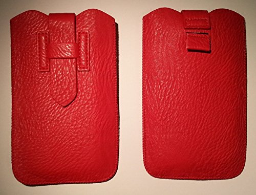 DFVmobile - Etui Tasche Schutzhülle aus Premium Kunstleder mit Rausziehband& Sicherheitsverschluss für Oppo r5 - Rot