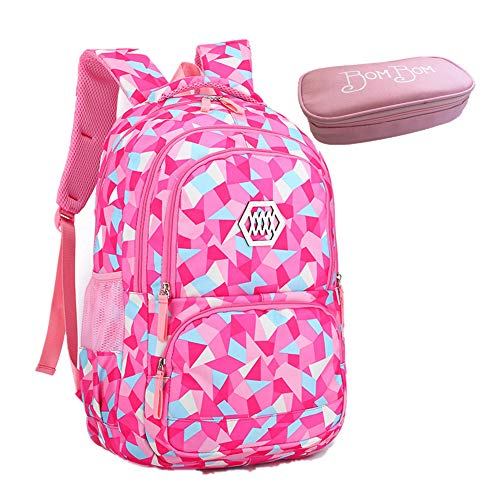 Bom Bom Rucksack Schultasche junge Mädchen Teen Kinder große Schule Rucksack (Rose Rot)