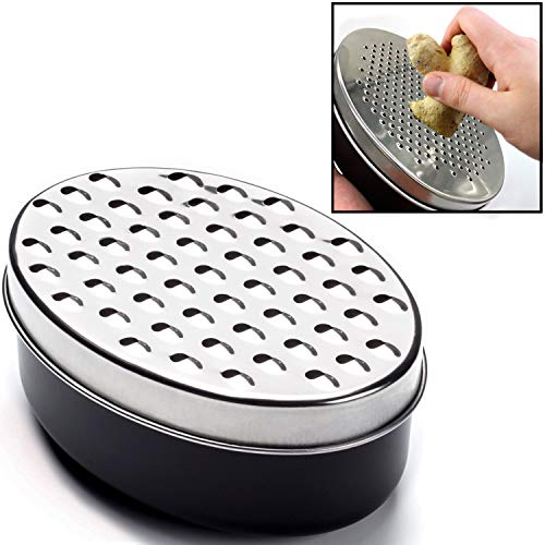 Hicook Cheese Grater Citrus Lemon Zester with Food Storage Container & Lid - Perfect For Hard Parmesan Or Soft Cheddar Cheeses, Ginger, Vegetables, Butter, Chocolate & Nutmeg (Black)
