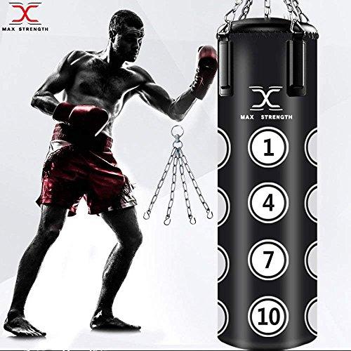 MAXSTRENGTH 4ft gefüllt Boxsack Boxen MMA Sparring Stanz Professionelles Studio Training Kickboxen Muay Thai mit Kette zum Aufhängen, Schwarz, Filled