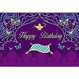 YongFoto 2,2x1,5m Cumpleaños Fotografía Fondo Feliz cumpleaños Alfombra mágica La lámpara de Aladino Mariposa Fondo para decoración de Fiesta Recién Nacido Bebé Niños Fotografía Foto