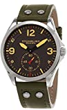 Stuhrling Original Men's Quartz Watch with Grey Dial Analogue Display and Green Leather Strap 684. 03