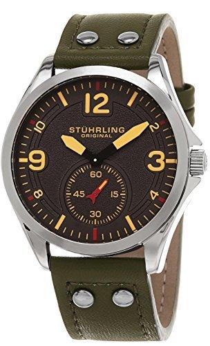 Relógio masculino Stuhrling original 684.03 Tuskegee de quartzo com pulseira de couro verde