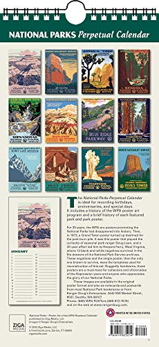 "National Parks Poster Art of the WPA Perpetual Calendar Birthday Anniversary Family Date Annual Reminders 5.5"" x 11.5"""